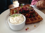 Belgian Waffles, Saskatoon berries, Sea buckthorn berries, lingonberries, creme fraiche