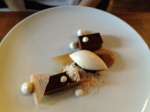 Chocolate tart, coffee, meringue, pear sorbet