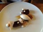 Chocolate tart, coffee, meringue, pear sorbet