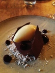 Andoa chocolate, blueberry puree, babaco sorbet