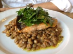 Salmon over a bed of lentils