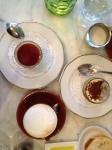 Panna cotta, tiramisu, and coffee