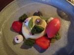 lime, matcha cake, chia seeds, strawberry sorbet, basil